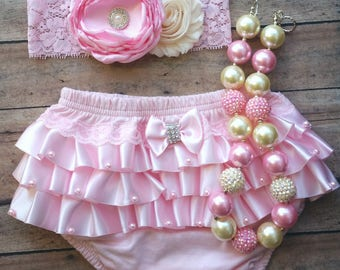 Pink baby bloomer set - birthday bloomer - birthday headband - baby girl bloomer - baby shower gift - satin ruffles bloomer - pearl necklace
