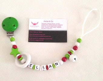 """Pacifier clip personalized rattle bead star ring and Red White Green Bell """"Algeria"""""""