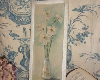 An old watercolor daffodils, flowers,.
