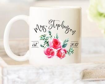 Engagement Mug/ Mrs Mug/ Bridal Coffee Mug/ Coffee Mug/ Bridal Party Gift/ Mrs Coffee Mug/ Wedding Mug/ Personalized Mug/ Customizable Mug