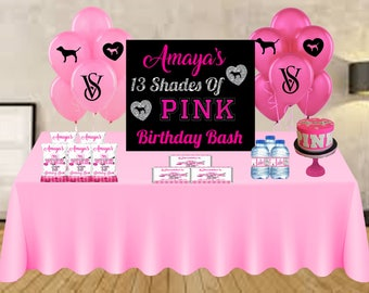 Victoria Secret Pink Printed Items, Victoria Secret Party, Victoria Secret Pink Sweet 16, Pink Party, Pink Party Favors, Pink Package