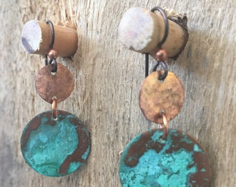 Green patina hammered copper dangle earrings