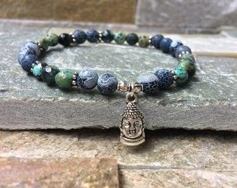 Buddha bracelet turquoise agate mala bracelet