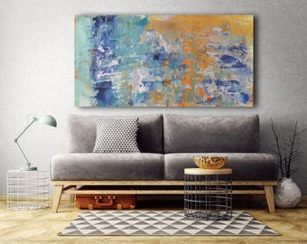Large painting textured blue and orange spatula made to order