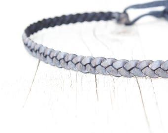 Hairband LEATHER // navy-blue *antik