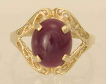 Vintage 10K Yellow Gold Filigree Natural Ruby Cabochon Ring Size 6.5