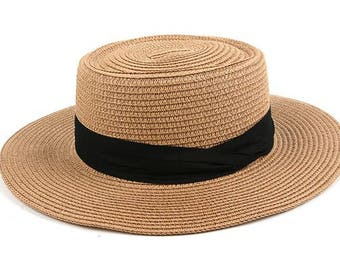 Straw Wide Brimmed Boater Hat with Black Contrast Ribbon: Wide Brimmed Beach Summer Vacation Hat Women's Boho Hat
