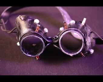 Copper silver black steampunk goggles
