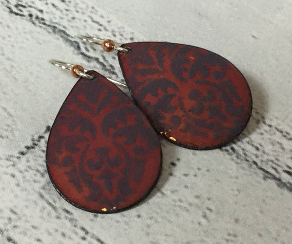 "Handmade Damask Enameled Copper Sterling Silver Drop Dangle Earrings 1.75"" Blue Gray Boho Chic Rustic Bohemian Metalsmith #J11"