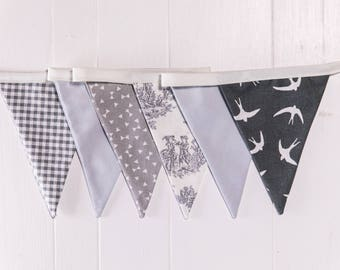 Handmade Mini Grey Bunting. A mix of grey floral, checked, swallows etc.Grey theme wedding decoration or the perfect gift to style any room.