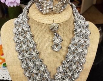 Gray Beads Set/ wedding Beaded Set