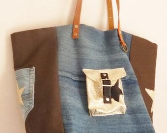 Denim/khaki gold, Pocket style pomponette stars tote bag