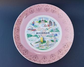 Vintage Michigan Decorative Souvenir Plate
