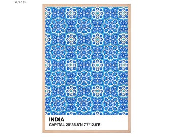 India Wall Art, Travel Pantone Print, India Art, Tile Pattern, Tile Wall Art, Pantone Wall Art, Printable Pantone, Pantone Poster, Blue Art