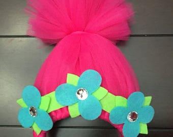 trolls headband, trolls poppy headband, trolls hair, pink trolls hair, trolls crown, girls headband, trolls party favor, trolls photo prop