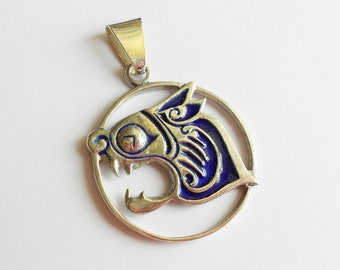 Large Scottish Silver Enamel Pendant, Celtic Style Beast, Hallmarked Edinburgh 1979