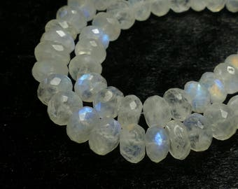Video ! 7.7/8.5mm Rainbow Moonstone bead full natural Indian rondelle faceted roundel beads lot for bracelet necklace luxe jewelry (#AC210)