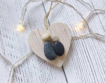 Pebble Art  Mini Heart Decoration, Birthday Gift, Wedding Favours, Valentine's Day gift, Cornwall, The Pebble Art Company,