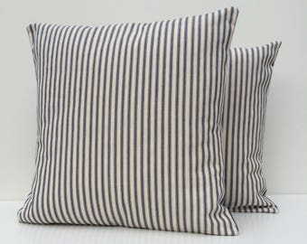 Ticking cushion cover, blue and cream striped ticking cushion cover, traditional blue ticking, envelope closure with centre ties, 46cm x 46c