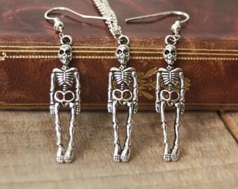 Skeleton pendant, halloween jewelry, gothic pendant, gothic jewelry, creepy cute