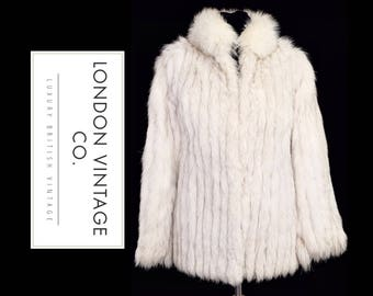 Vintage classic 90's fluffy white/arctic/polar/blue fox real fur jacket/coat. perfect for winter. extra small size