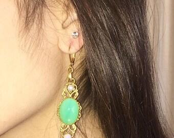 "Hot Summer Sale Green Opalite, Fire Opal & Pearl Earrings 2 1/2"" -Handmade - 24kt Gold Plated"
