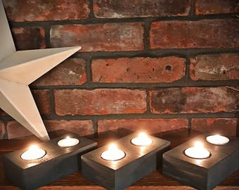 Rustic Candle Holder, Wood Candle Holder, Double Tealight Candle Holder, Rustic Decor, Home & Living, Carbon Gray, Candles