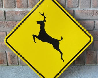 """DEER CROSSING Road Sign - Heavy Gauge Steel - New Old Stock - 18"""" square - Never Installed - FREE Shipping"""