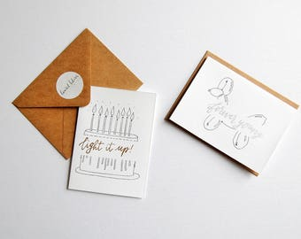 birthday cards | hand drawn | modern calligraphy