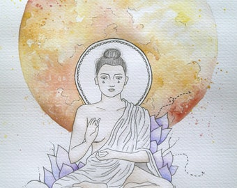 Watercolour Moon Buddha PRINT