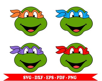 Teenage Mutant Ninja turtles svg, heads, clip art, digital format svg, eps, pdf, png, dxf. For Silhouette Cameo, vinyl, embroidery, cut file