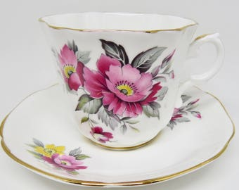 Consort Pink & Yellow Floral Pattern Fine Bone China Teacup and Saucer