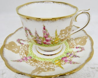 """Royal Albert Crown China Handpainted Teacup and Saucer """"Greenways"""" Pattern 2457"""