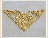 1 piece raw brass filigree corner, stampings, embellishments #6080