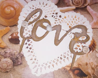 Love- Beach Wedding Sand and Shell Cake Topper