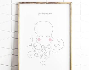 octopus nursery art, octopus decor, octopus printable, octopus wall art, octopus download, octopus illustration, octopus kids room
