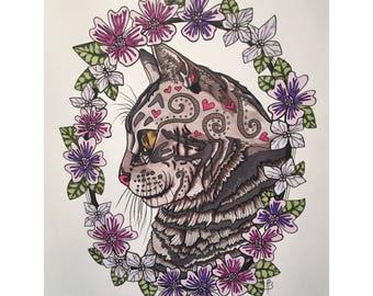 Flower Framed Tabby Cat