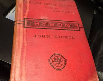 Byron by John Nichol, 1880, Macmilan, victorian book, English men of letters
