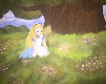 Alice in a Field of Flowers Painting