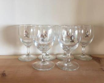 Set of Six Vintage Aperitif Glasses with Gilt Clock Decoration Very Unusual