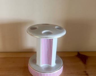 Vintage Kitsch Very Atrractive Japanese Pedestal Toothbrush Holder Pink and White Candy Stripe