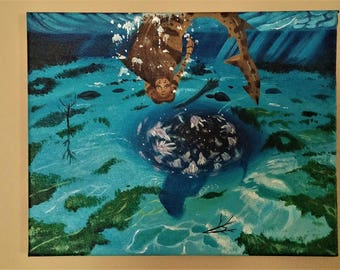 Small 11x14in Canvas, Original Acrylic Shark Mermaid