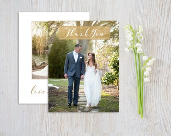 Folded Wedding Thank You Card with Photo, Printed Wedding Thank You, Beach Wedding Thank You Cards Printed, Photo Thank You Cards