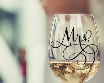 Mrs Wine Glass Stemless | Mrs Vinyl Decal