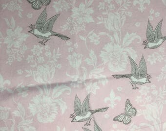 pink sparrows cotton fabric, bird fabric, girl bird fabric, girl nursery fabric, birds fabric cotton butterfly