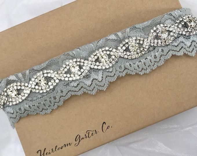 Gray Bridal Garter, Gray and Rhinestone Wedding Garter, gray toss garter, NO SLIP grip vintage rhinestones