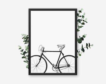 Bicycle Print, Modern Bike Printable, Scandinavian Decor, Urban Art, Minimalist Poster, Black And White Home, Nordic Design, Photography Art