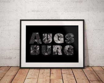 Augsburg - A4 / A3 print - MapInBlack