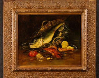 Antique French still life painting Basket with fish of the 19th century