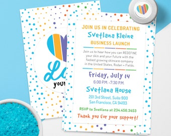 Rodan and Fields Launch Party, Free Personalized, R + F Big Business Launch Invitation, Skincare Invitation, R + F BBL Cards